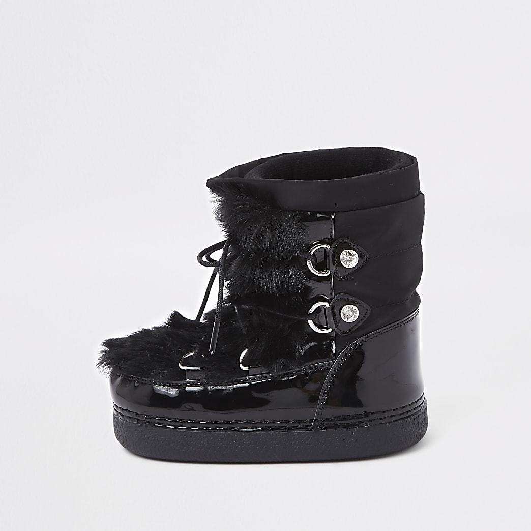 Mini girls black faux fur trim snow boots