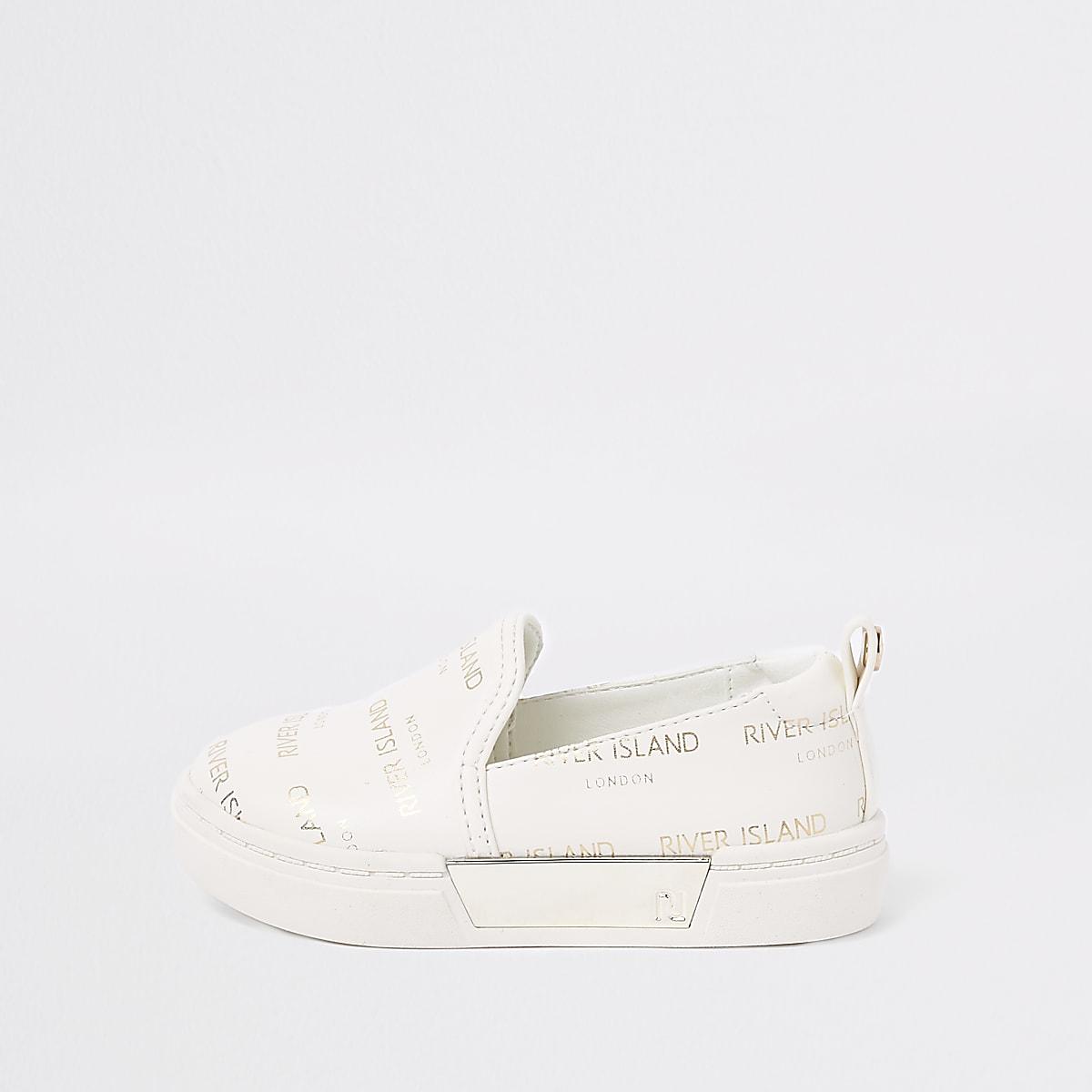 Mini girls white RI logo slip on plimsolls