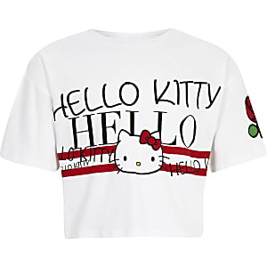 Girls white Hello Kitty cropped T-shirt