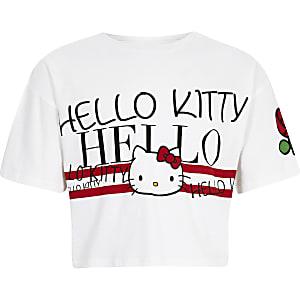 Girls white Hello Kitty cropped T-shirt