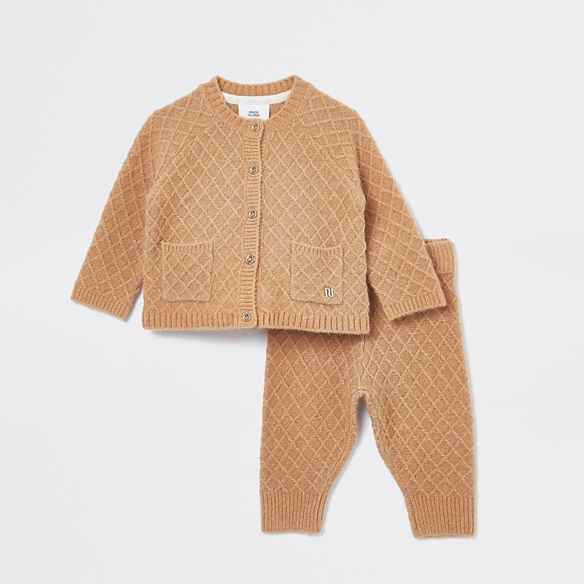 Baby camel knitted cardigan outfit