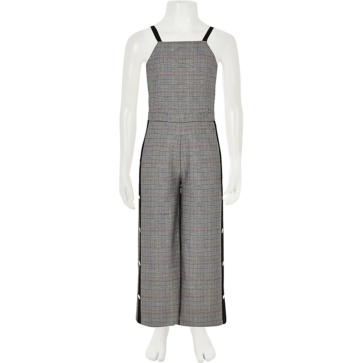 38e0a924844 Girls grey check popper tape jumpsuit