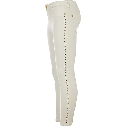 Girls cream Molly studded mid rise jeggings