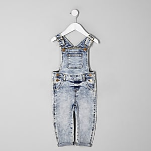 Mini kids blue acid wash dungarees