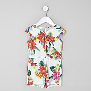 Mini girls white tropical print playsuit
