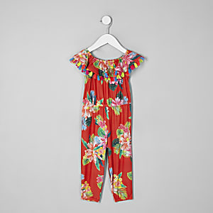 Combi-short imprimé tropical rouge mini fille