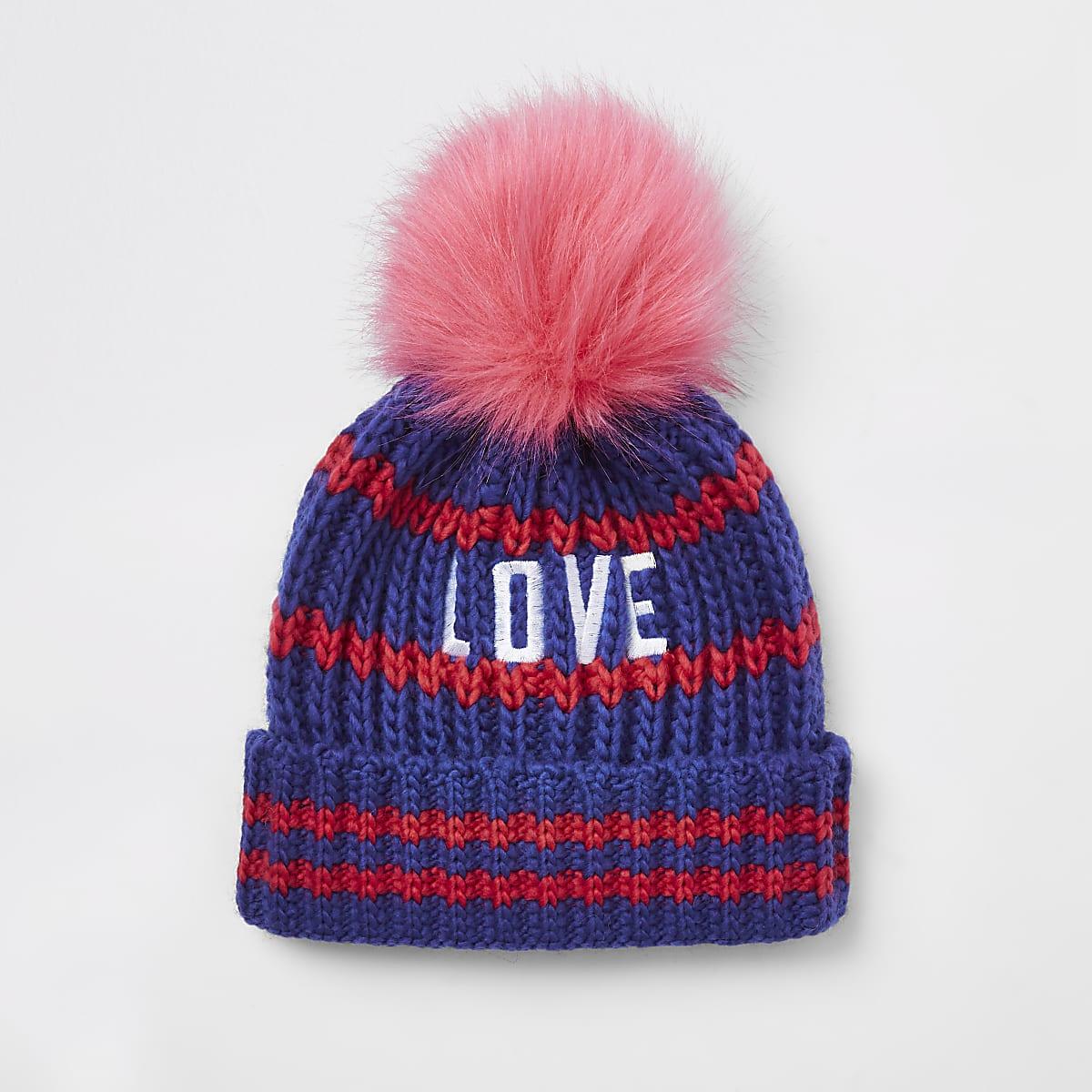 Girls blue 'love' embroidered pom pom beanie