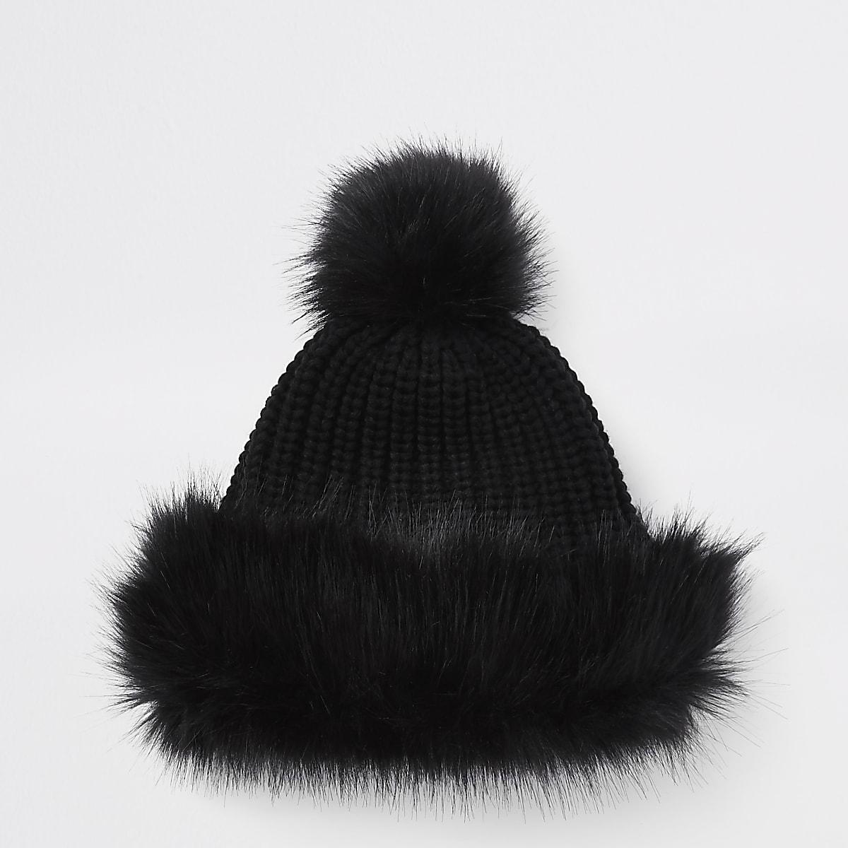 2e3516f7894ffe Girls black faux fur trim bobble hat - Hats - Accessories - girls