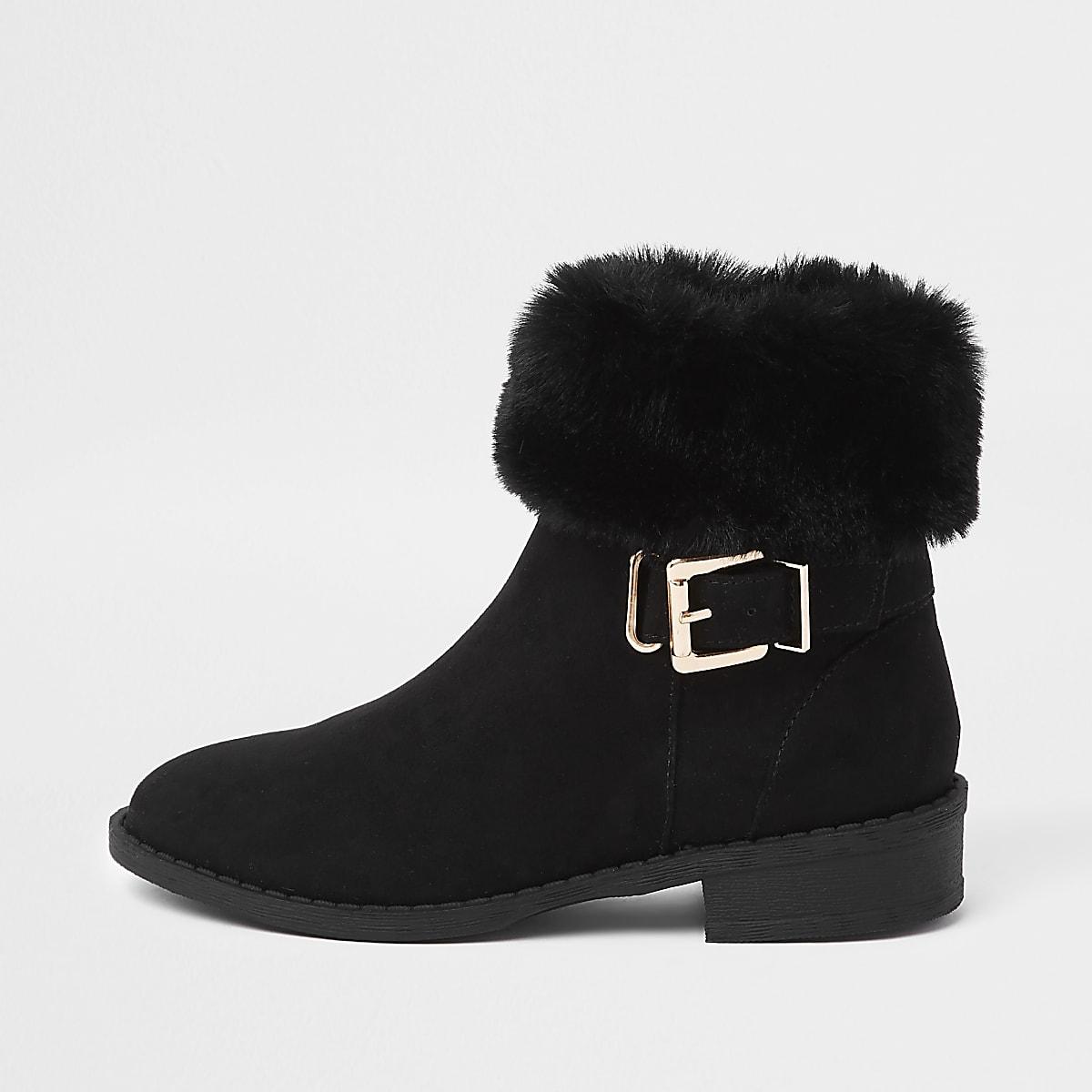 Girls black buckle faux fur cuff boots