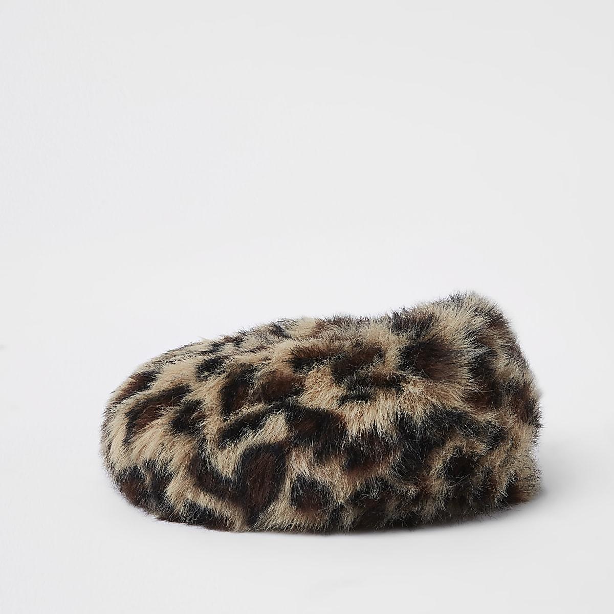 a1b830540249d Mini girls brown faux fur leopard print beret - Baby Girls ...