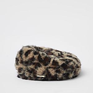 Mini girls brown faux fur leopard print beret