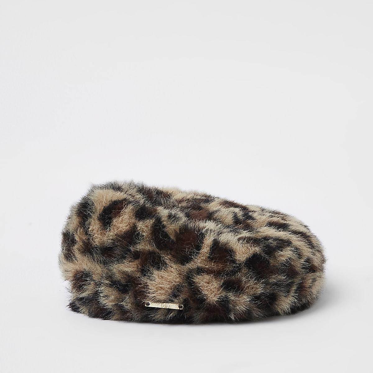 637ad2acb1819 Mini girls brown faux fur leopard print beret - Baby Girls Accessories -  Mini Girls - girls