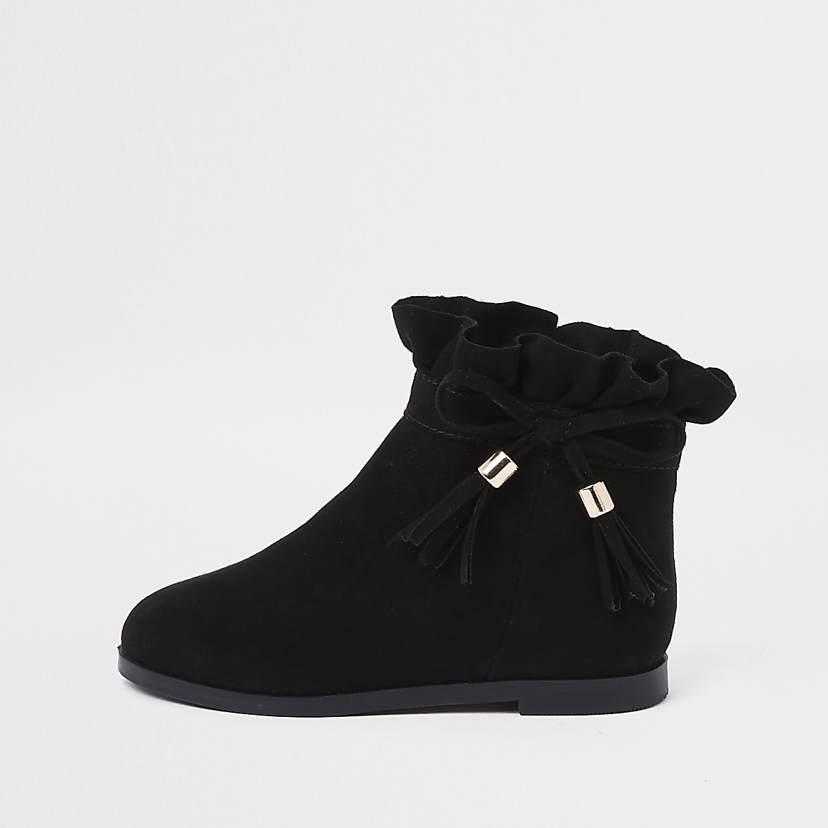 26a49083d Mini girls black paperbag bow detail boots