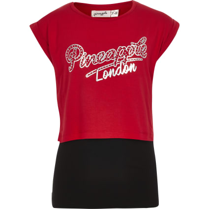 Girls red Pineapple double layer T-shirt