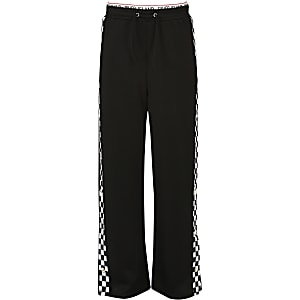 Girls black mono popper side trousers