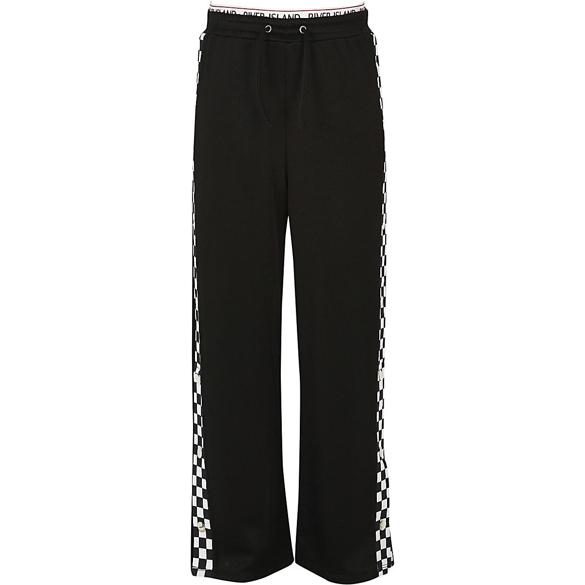 Girls black mono popper side trousers