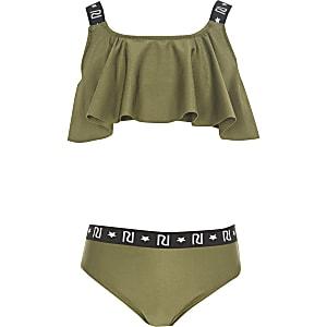 Bikini kaki à logo RI avec volants pour fille