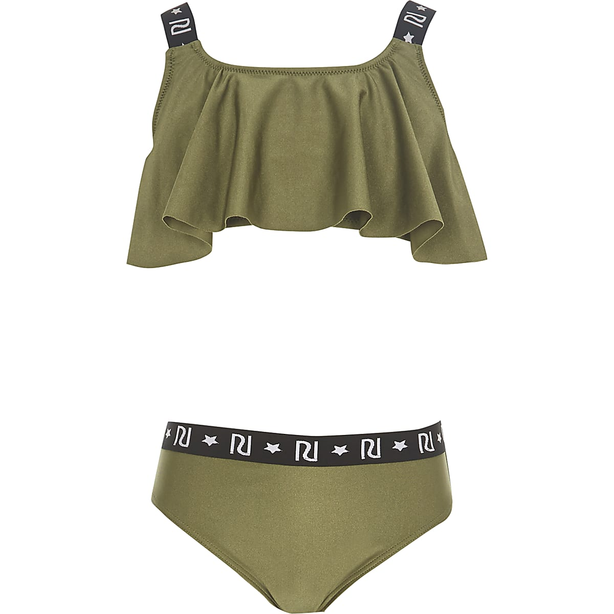 Girls khaki RI frill bikini
