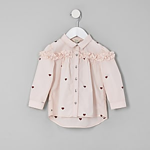 Mini girls pink heart print frill shirt