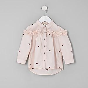 Chemise à imprimé cœur rose avec volants mini fille