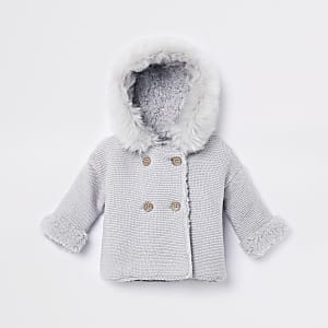Baby grey faux fur knit hooded cardigan