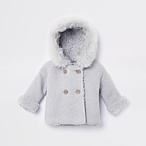 Grijs gebreid vest met imitatiebont en capuchon voor baby's