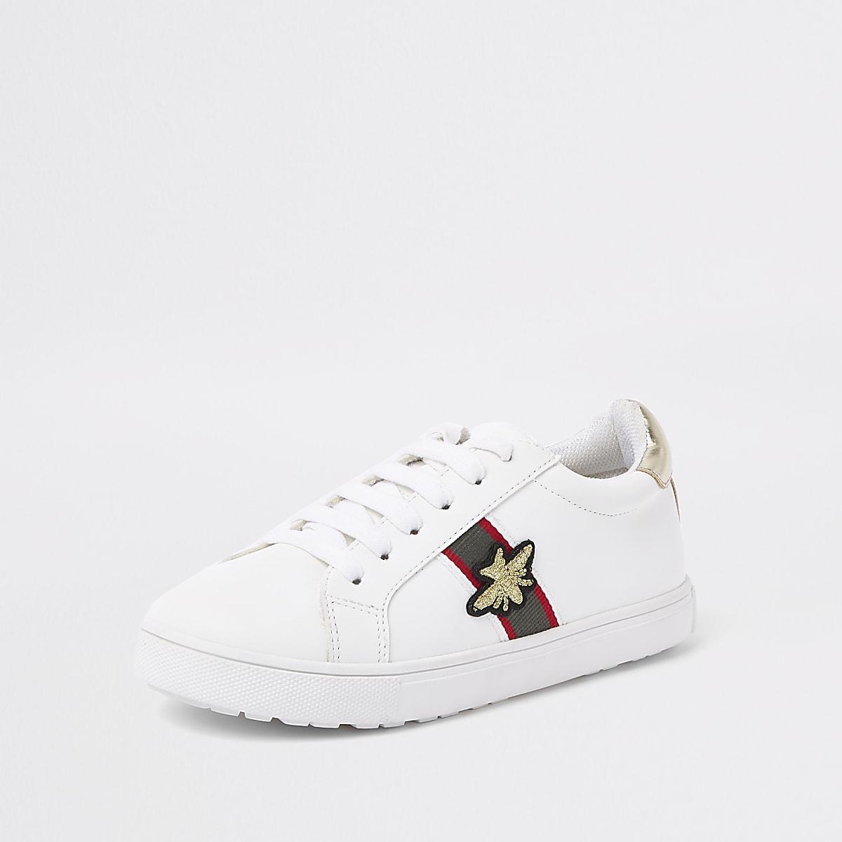 86c66d3872c Witte gestreepte gympen met bijenprint voor meisjes - Sneakers ...