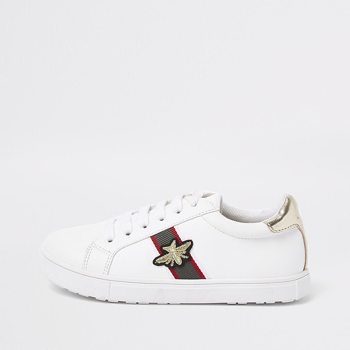 Witte gestreepte sneakers met bijenprint voor meisjes