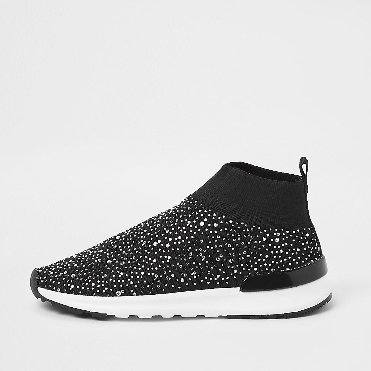 Girls black embellished sock runner sneakers