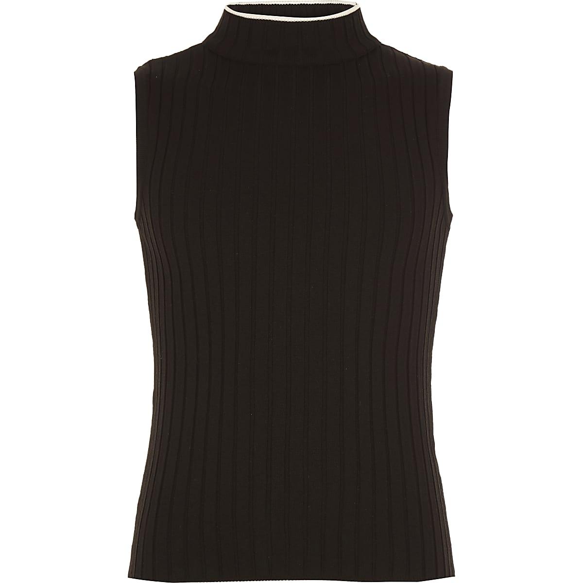 Girls black rib turtle neck tank top
