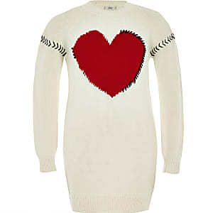 Girls cream knit heart jumper dress