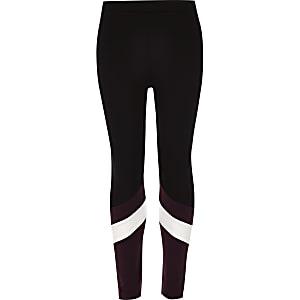 Zwarte legging van ponté-stof met contrasterende kleuren voor meisjes
