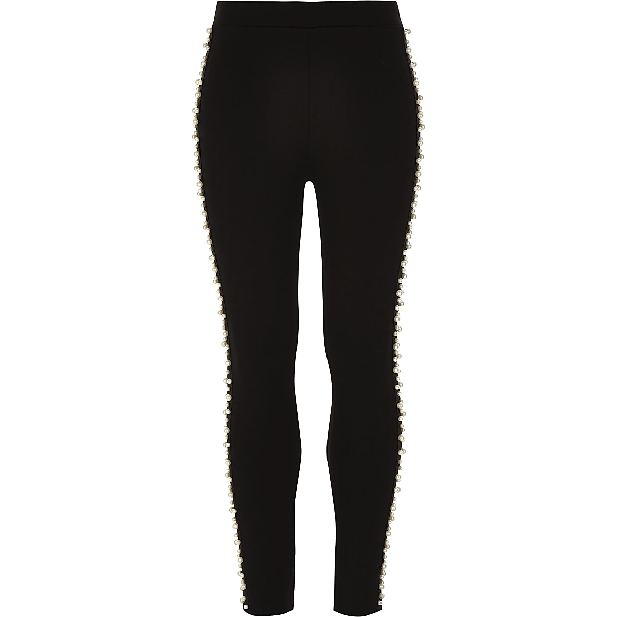 Girls black Ponte pearl embellished leggings