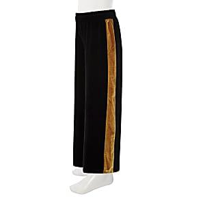 Pantalon large en velours noir à bandes latérales fille
