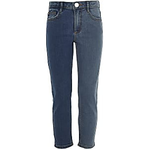 Girls blue two tone straight leg jeans