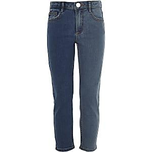 Tweekleurige blauwe jeans met rechte pijpen voor meisjes