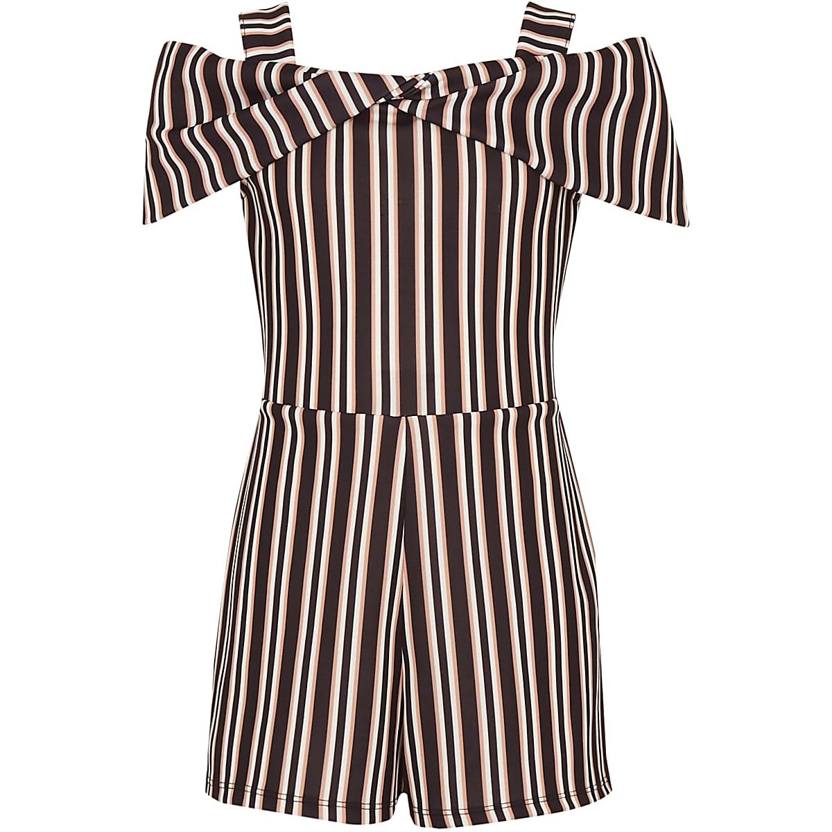 Girls black stripe bow cold shoulder playsuit