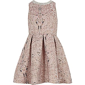 Girls pink metallic jacquard prom dress