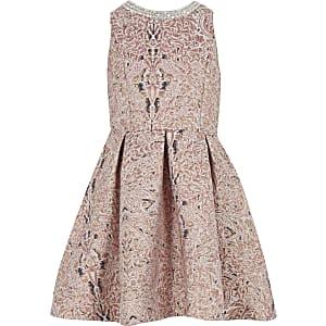 Robe de gala en jacquard rose métallisé pour fille