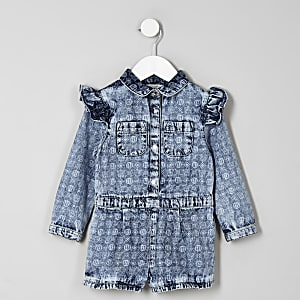 Mini girls blue RI monogram romper