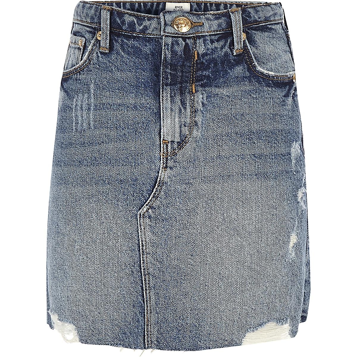 Girls blue denim A-line mini skirt
