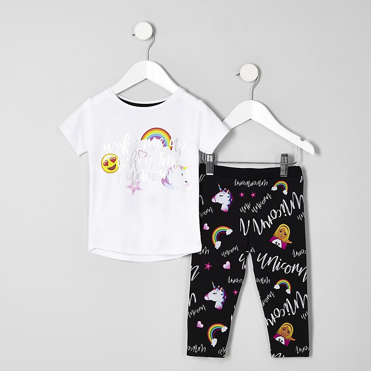 Mini girls white 'Wake me up' unicorn pajamas