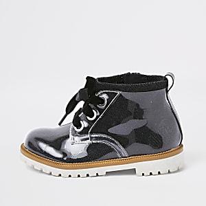 Mini kids black perspex lace-up boots