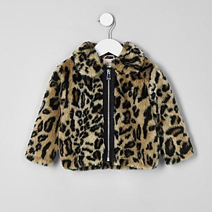 Mini girls brown leopard print faux fur coat