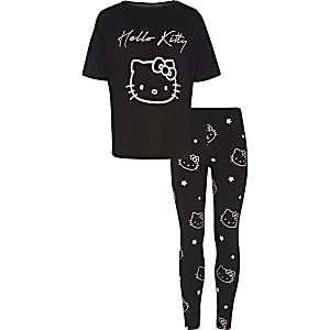 Girls black Hello Kitty pajama set