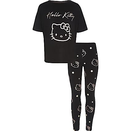 Girls black Hello Kitty pyjama set