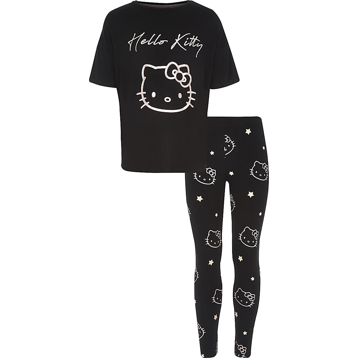 Girls black Hello Kitty pajama set