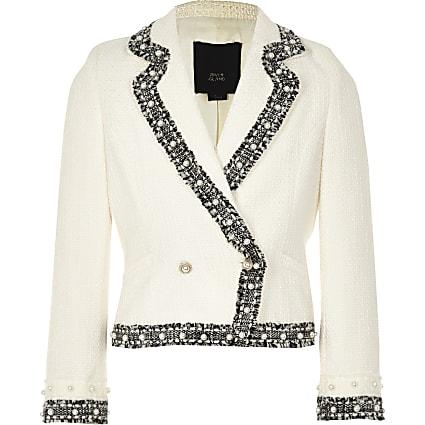 RI 30 girls cream boucle blazer
