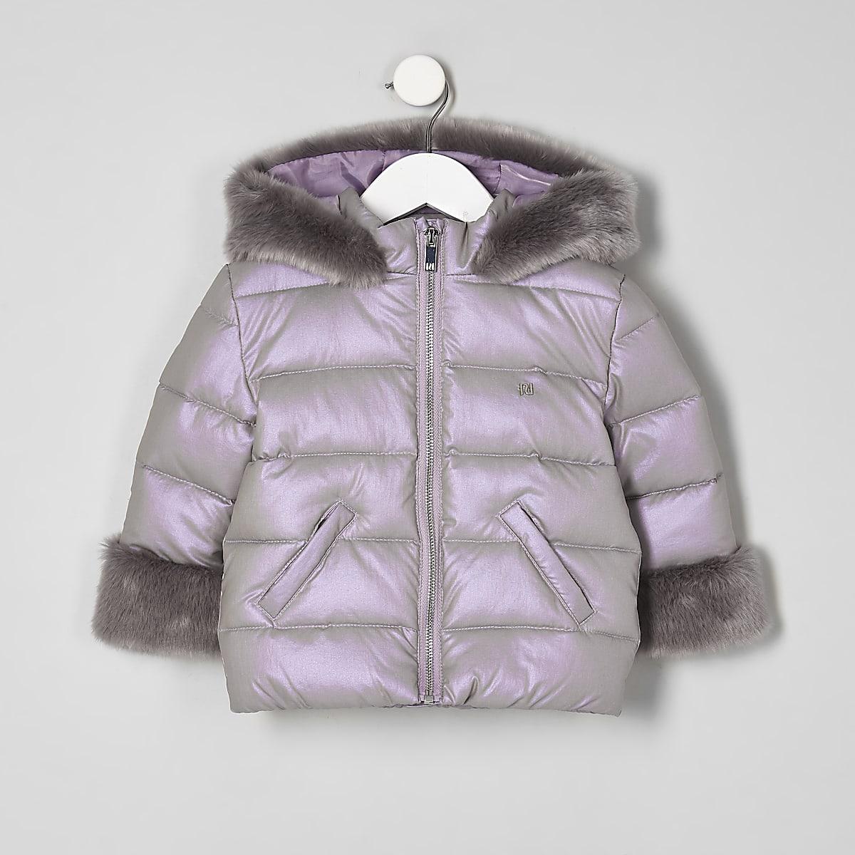 Mini girls purple faux fur trim padded coat