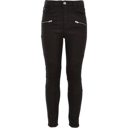 Girls black Amelie coated biker jeans